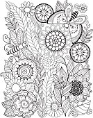 Summer flowers. Coloring book for adult.
