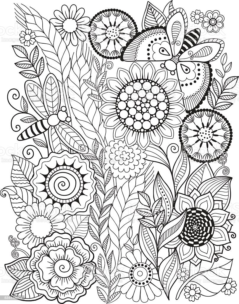 Summer flowers. Coloring book for adult. vector art illustration