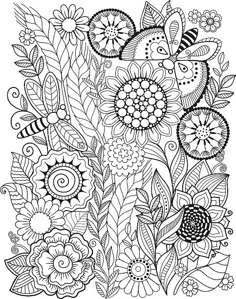 Coloring Book For Adult Vector Art Illustration