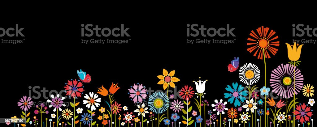 Summer Flowers vector art illustration