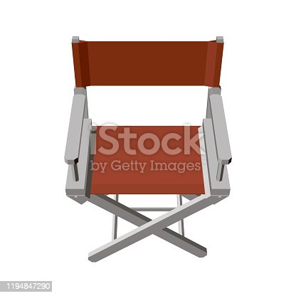 istock Summer folding chair. Red director s chair isolated on white background. View isometric. 3D. Vector illustration 1194847290