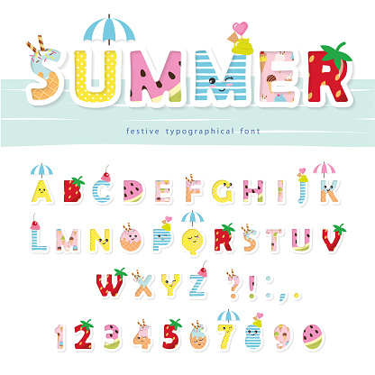 Summer Font Creative Cartoon Letters And Numbers For Posters Banners Kids  Birthday Clothing Design Stock Illustration - Download Image Now