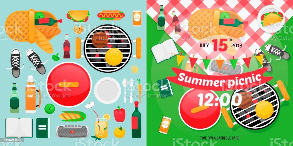 Ilustración De Objetos De Comida Y Vacaciones De Verano Para