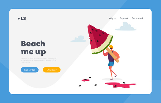 Summer Food, Delicious Sweet Dessert Landing Page Template. Tiny Male Character Carry Huge Watermelon Ice Cream Popsicle
