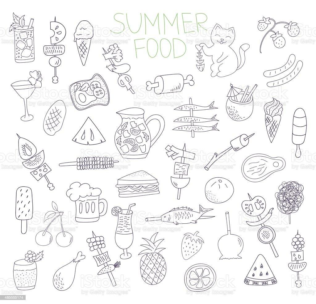 summer food doodles vector art illustration