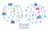 People walking, riding bicycle, eating street food, have fun together. Flat vector poster and banner colorful design.