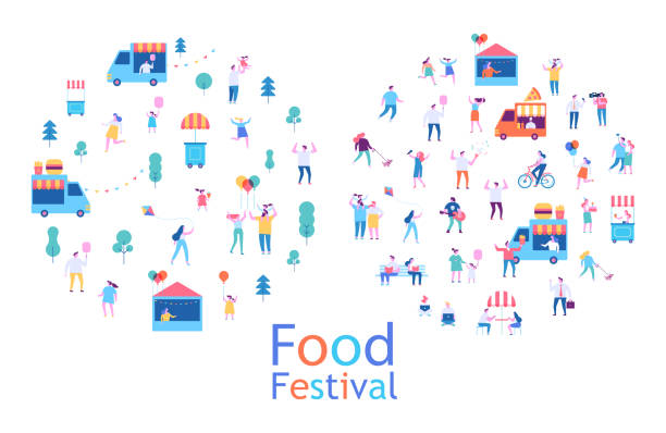 Summer food festival. Food street fair, family festival. People walking, riding bicycle, eating street food, have fun together. Flat vector poster and banner colorful design. food festival stock illustrations