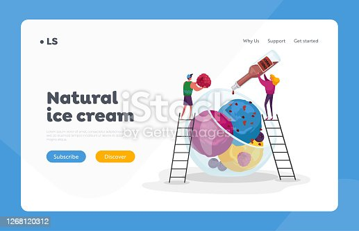 Summer Food, Icecream Landing Page Template. Tiny Characters on Ladders Decorate Huge Ice Cream with Choco Topping and Raspberry. Sweet Dessert Balls in Glass Bowl. Cartoon People Vector Illustration