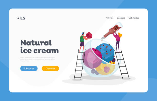 Summer Food, Icecream Landing Page Template. Tiny Characters on Ladders Decorate Huge Ice Cream with Choco Topping Summer Food, Icecream Landing Page Template. Tiny Characters on Ladders Decorate Huge Ice Cream with Choco Topping and Raspberry. Sweet Dessert Balls in Glass Bowl. Cartoon People Vector Illustration bowl of ice cream stock illustrations