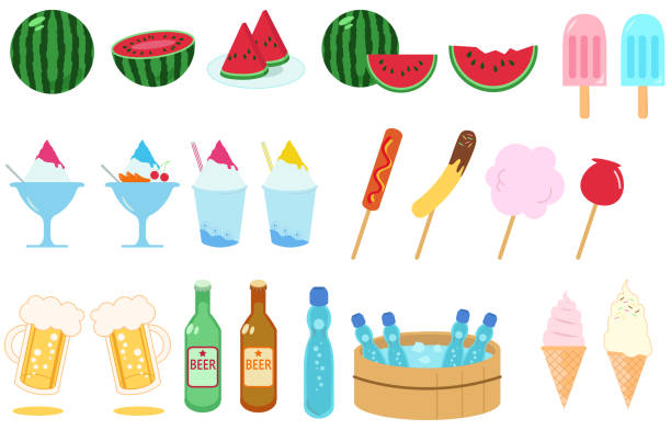 Summer food material set illustration vector art illustration