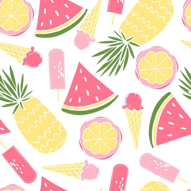 stockillustraties, clipart, cartoons en iconen met zomereten.  vector naadloos patroon. - bevroren voedsel