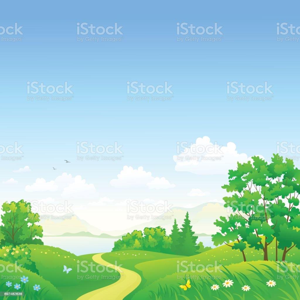 夏の森と空の背景 のイラスト素材 697482638 | istock