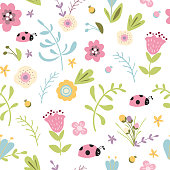 Summer forest floral seamless pattern hand drawn spring gentle pink background Vector illustration Tulips ladybug meadow flower Cute kids garden design for wallpaper Repeated decorative template.