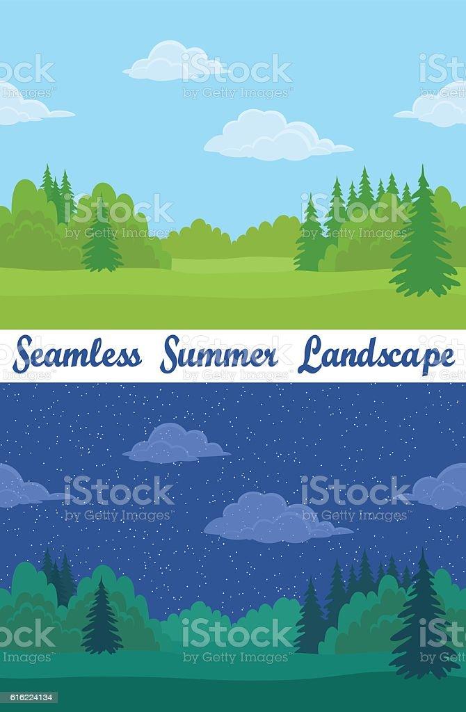 Summer Forest, Seamless Landscapes vector art illustration