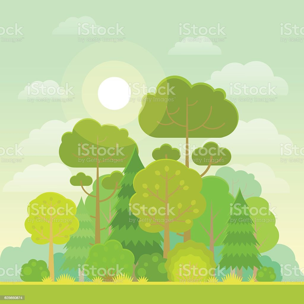 Summer forest vector art illustration