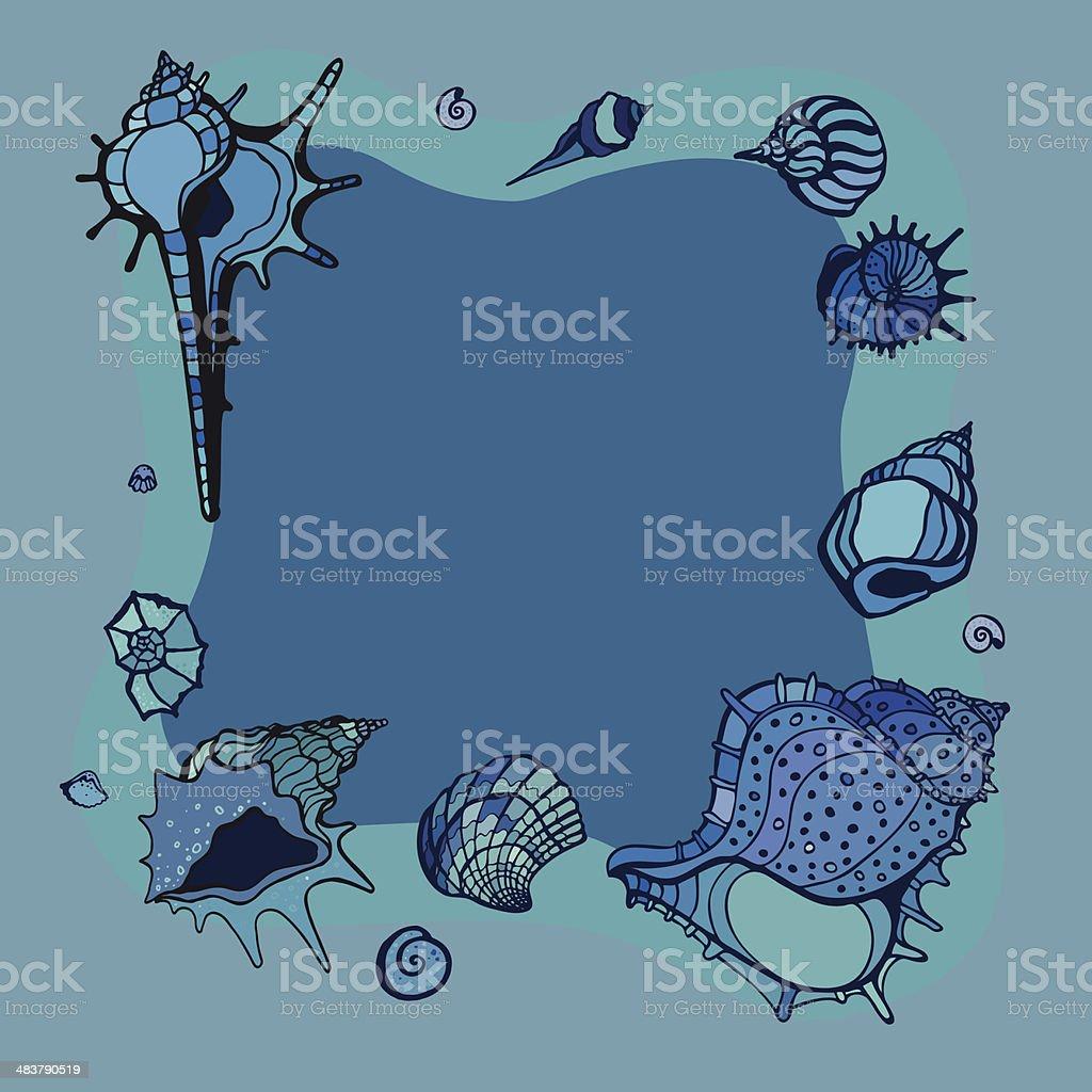 Sommerrahmen Mit Muscheln Vektor Illustration 483790519   iStock