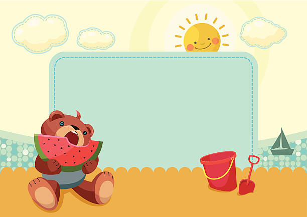 Summer frame with teddy bear vector art illustration