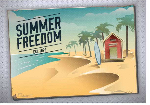 Summer freedom. Postcard of a beach hut in a paradise vector art illustration