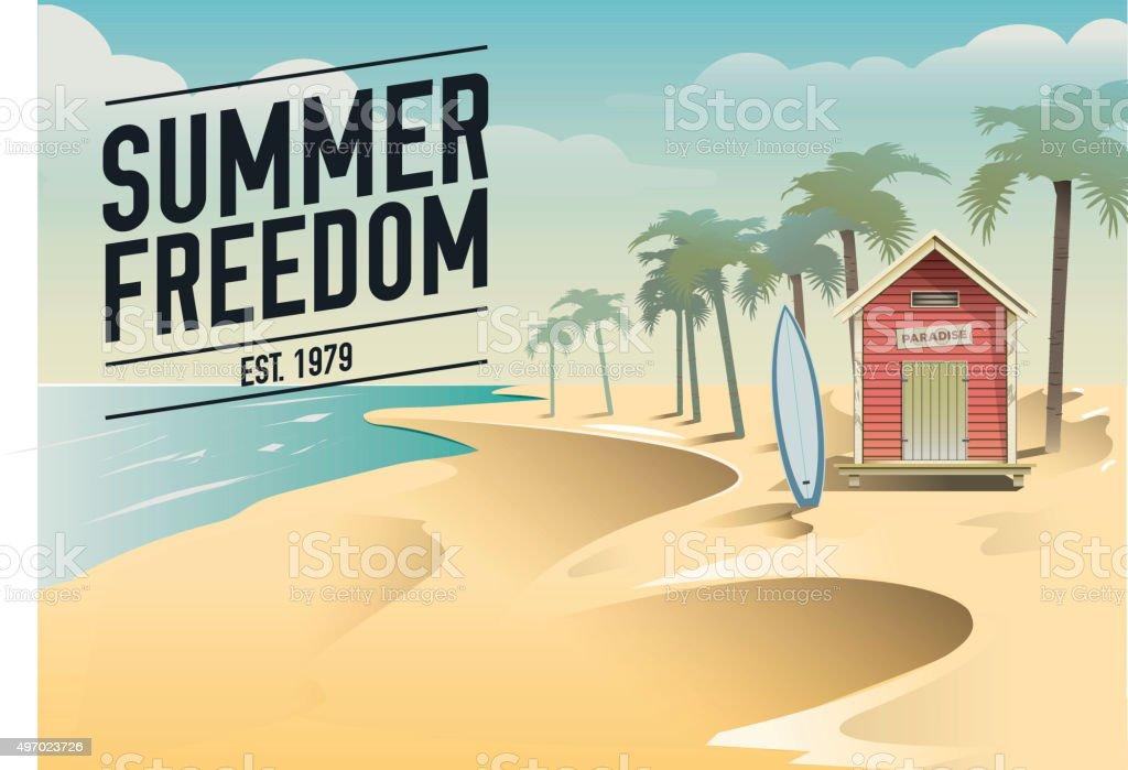Summer freedom. Surf beach hut in a paradise vector art illustration