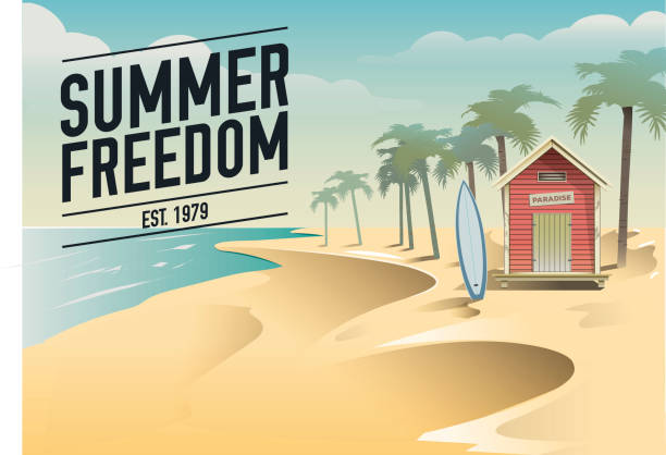Summer freedom. Surf beach hut in a paradise vector art illustration