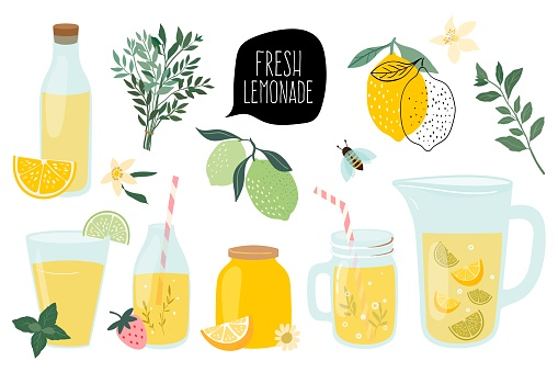 Summer fresh lemonade collection with  different elements