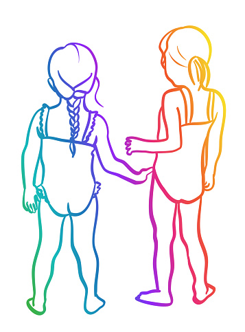 Summer Friends Girls In Swimsuits Rainbow