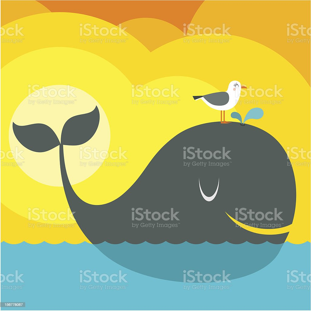 Summer friends / Whale and seagull vector art illustration