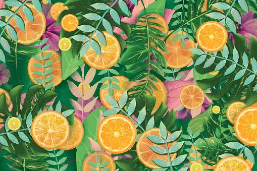 Summer fruit background. Oranges and lemons