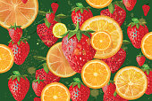 Fruity background. Summer fruit background. Oranges, lemons and  strawberries background