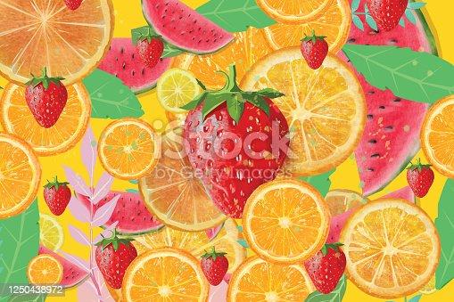 Summer fruit background. Oranges, strawberries,lemons and watermelons pattern