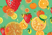 Fruity background. Strawberries, oranges and lemons background