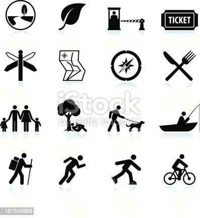 Summer fun and outdoor black & white icon set