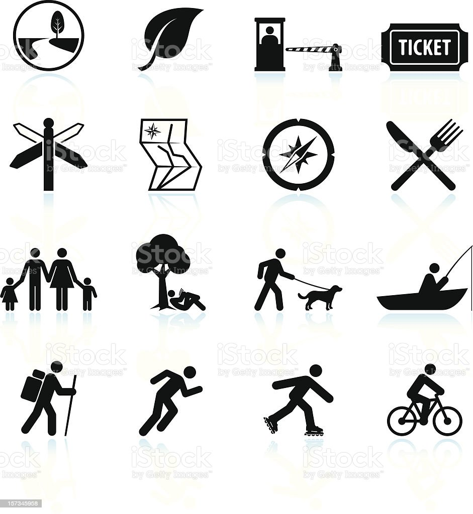 Summer fun and outdoor black & white vector icon set vector art illustration