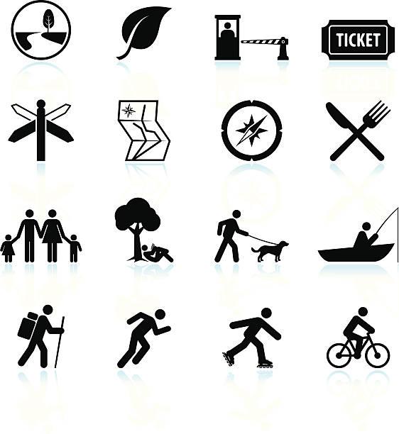 Plaisirs d'été en noir et blanc vector icon set & - Illustration vectorielle