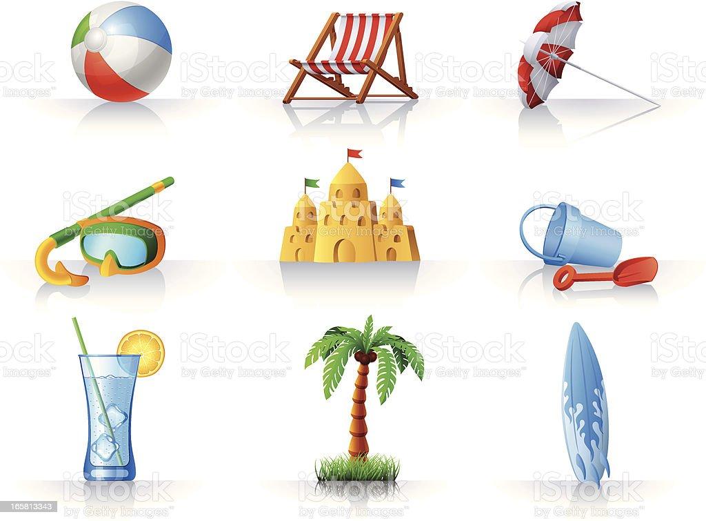 Summer Fun at the Beach icons set royalty-free stock vector art