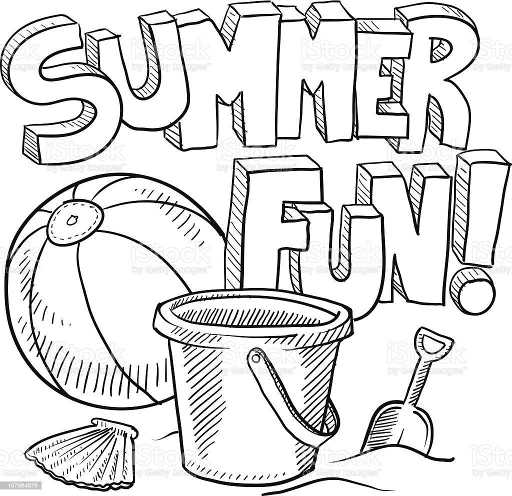 楽しい夏のビーチバケーションのスケッチ ベクターアートイラスト