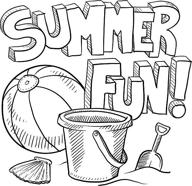 Summer Fun Beach Vacation Sketch Vector Art Illustration