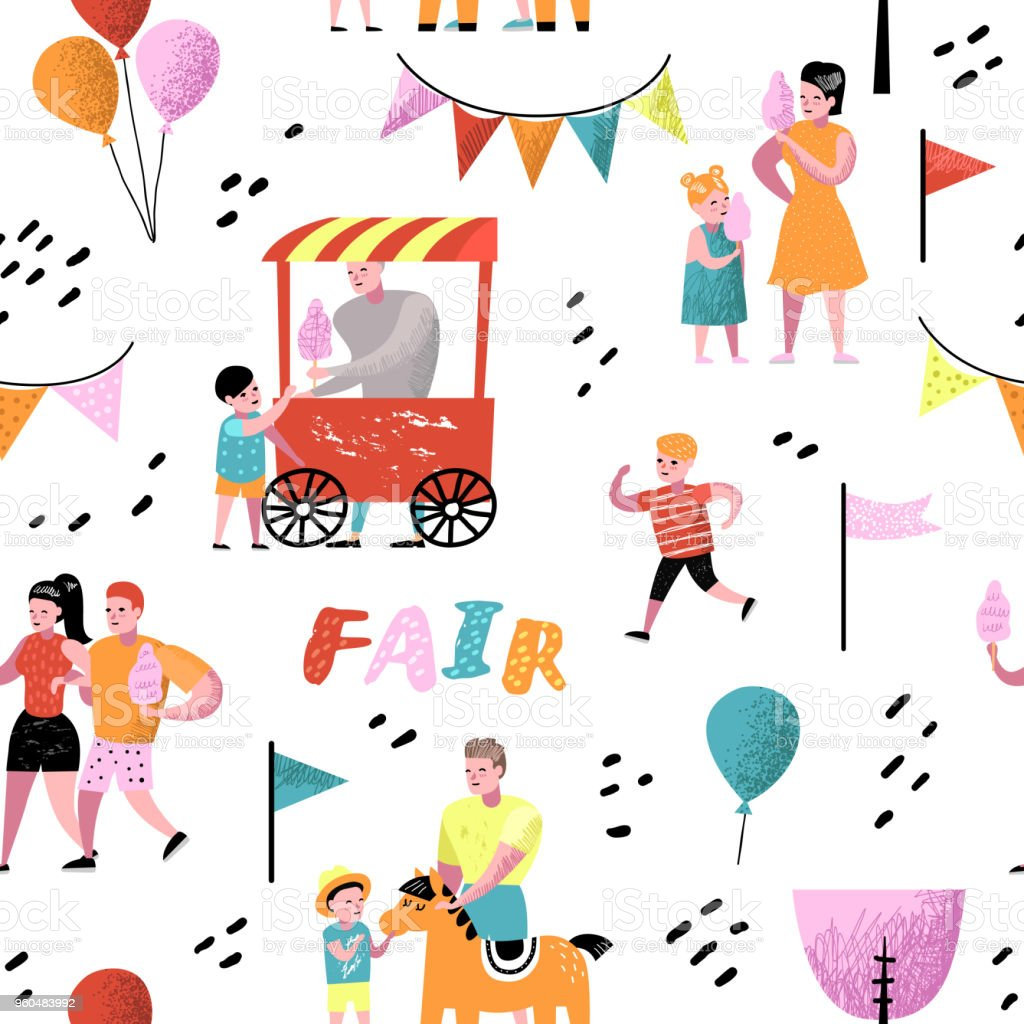 Summer Fun Fair Seamless Pattern. Amusement Park Characters with Cartoon People. Family Kids Vacation Background for Wallpaper, Fabric. Vector illustration vector art illustration