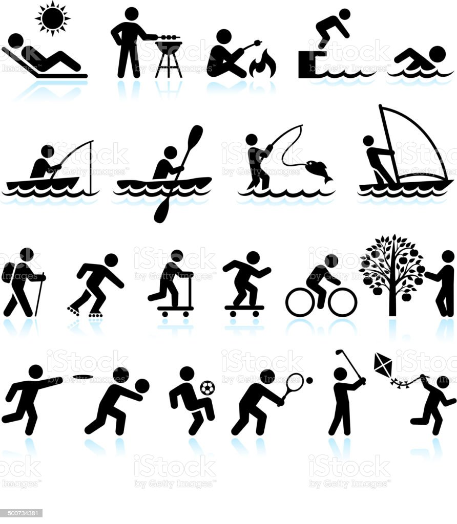 Summer Fun Outdoor Activities royalty free vector interface icon set royalty-free summer fun outdoor activities royalty free vector interface icon set stock vector art & more images of adult