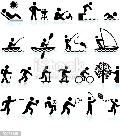 Summer Fun and Outdoor Activities Stick Figure interface icon Set. This royalty free icons set features summer theme recreational activities. People are black on white background. They can be used for vector app or vector logo ideas and include guy sun tanning, guy doing barbecue, swimming, fishing, sailing, hiking, and guys playing summer sports.