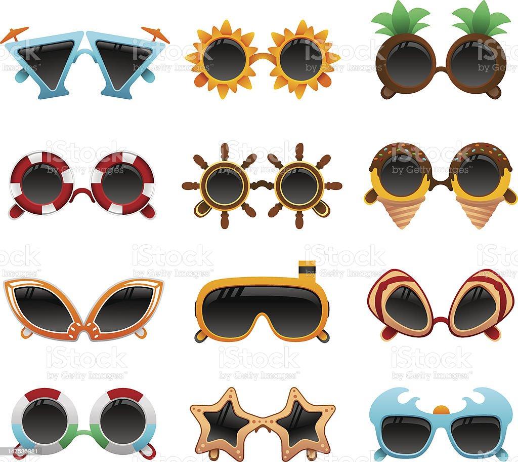 summer funky sunglasses set royalty-free summer funky sunglasses set stock vector art & more images of beach ball