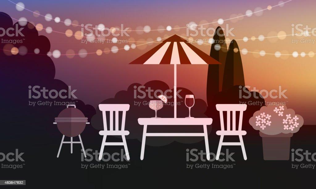 Summer garden party barbecue background, sunset vector vector art illustration