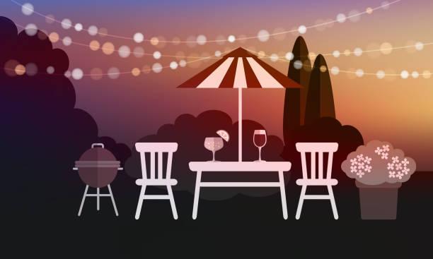 ilustrações, clipart, desenhos animados e ícones de jardim de verão de churrasco de fundo, vetor ao pôr-do-sol - festa no jardim