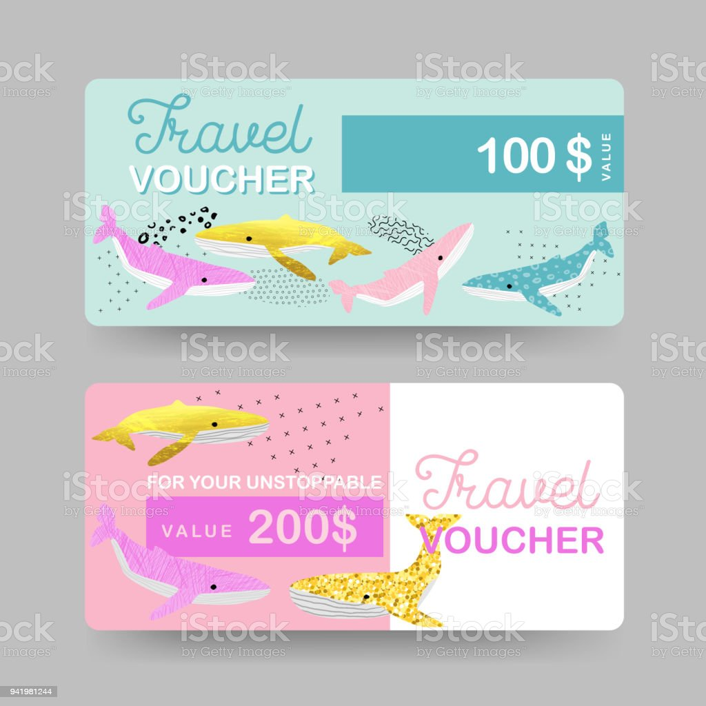 Summer Gift Travel Vouchers Beach Vacations Coupon Certificate