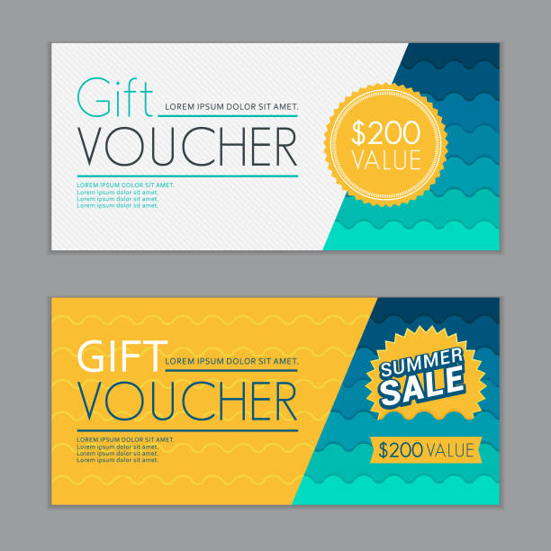 summer gift vouchers template - tickets and vouchers templates stock illustrations
