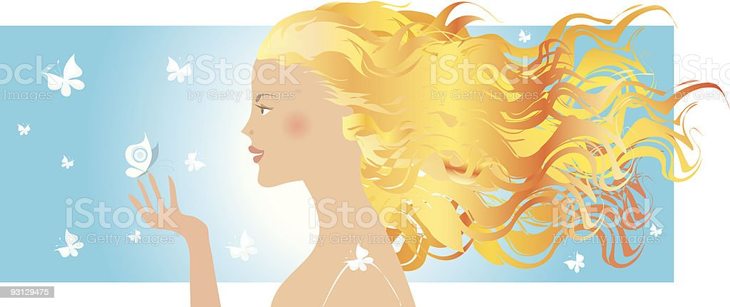 Summer girl and butterflies royalty-free summer girl and butterflies stock vector art & more images of adult