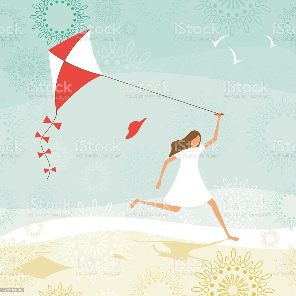 Summer girl flying a kite vector art illustration