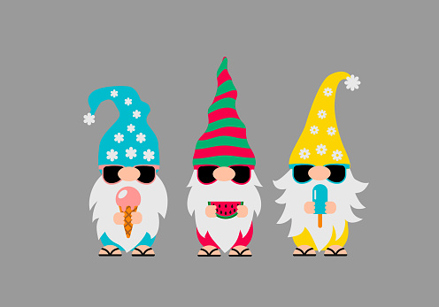 Summer gnomes wearing sunglasses. Cute cartoon characters on vacations. Vector template for banner, poster, greeting card, t-shirt