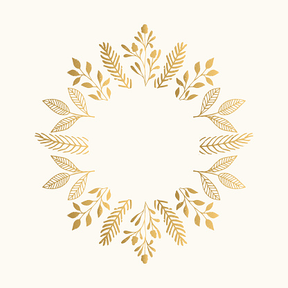Summer gold frame with flowers and leaves. Vector isolated illustration.