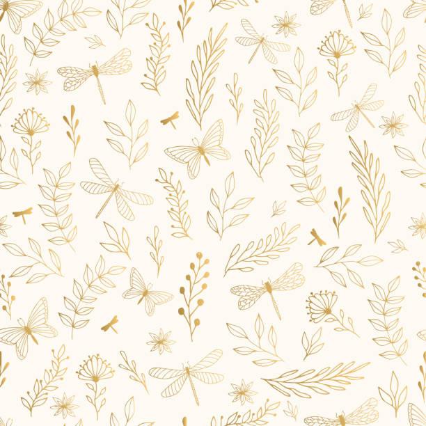 bildbanksillustrationer, clip art samt tecknat material och ikoner med sommar guld mönster med blommor, blad och trollslända. - summer sweden